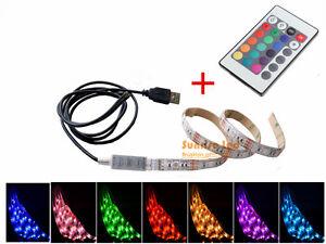 USB RGB LED Stirp Light IR Remote to Notebook PC LCD TV Background Lighting 5V
