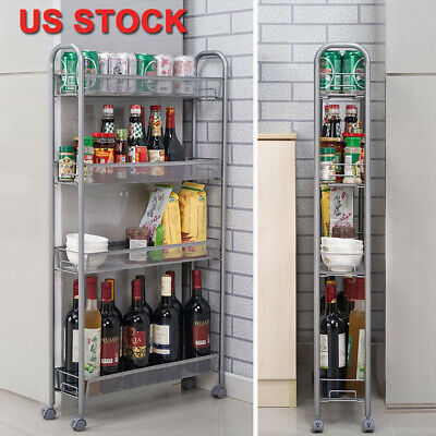 Slim Slide Out Storage Kitchen Pull Out Cart Trolley Shelf Narrow Places  Rack | eBay