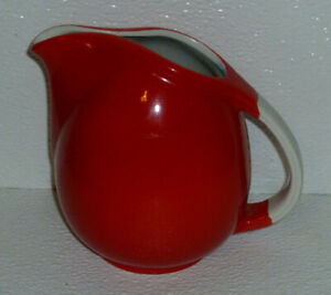 Hall-Small-Pitcher-CHINESE-RED-16-Oz-Pert-Vtg-Mid-Century-Sani-Grid-5-034