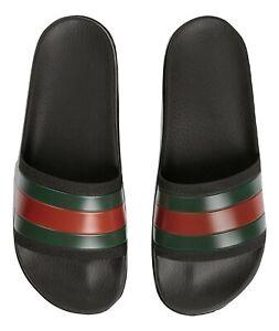 05d8f492c GUCCI slippers rubber sandal with WEB 429469 GIB10 1098 ribbon black ...
