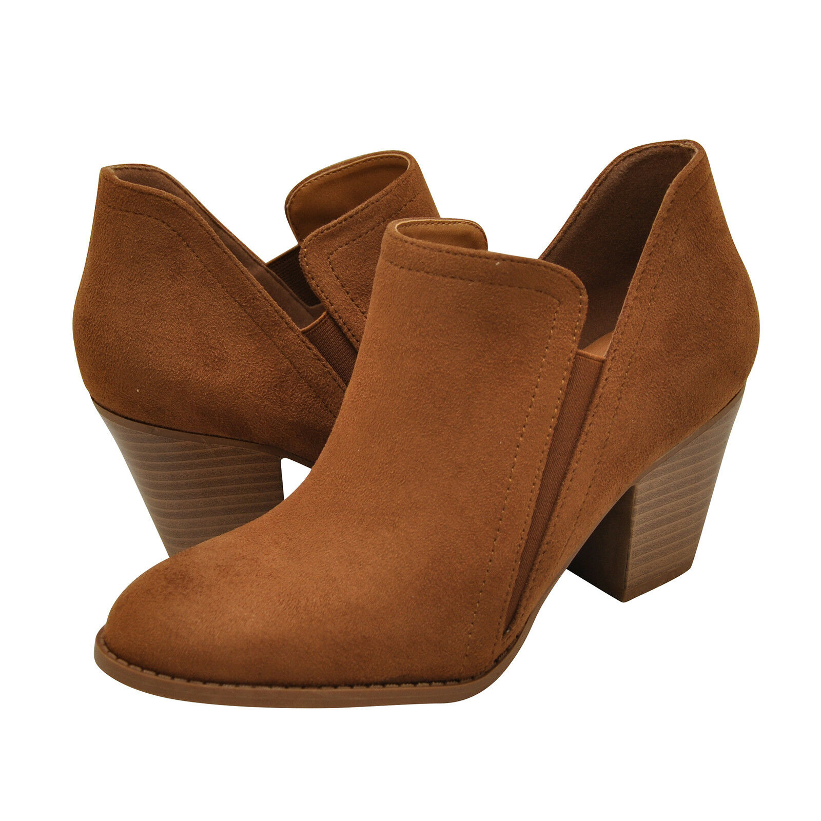 Women's shoes City Classified COIN Faux Suede Slip On Booties CHESTNUT New