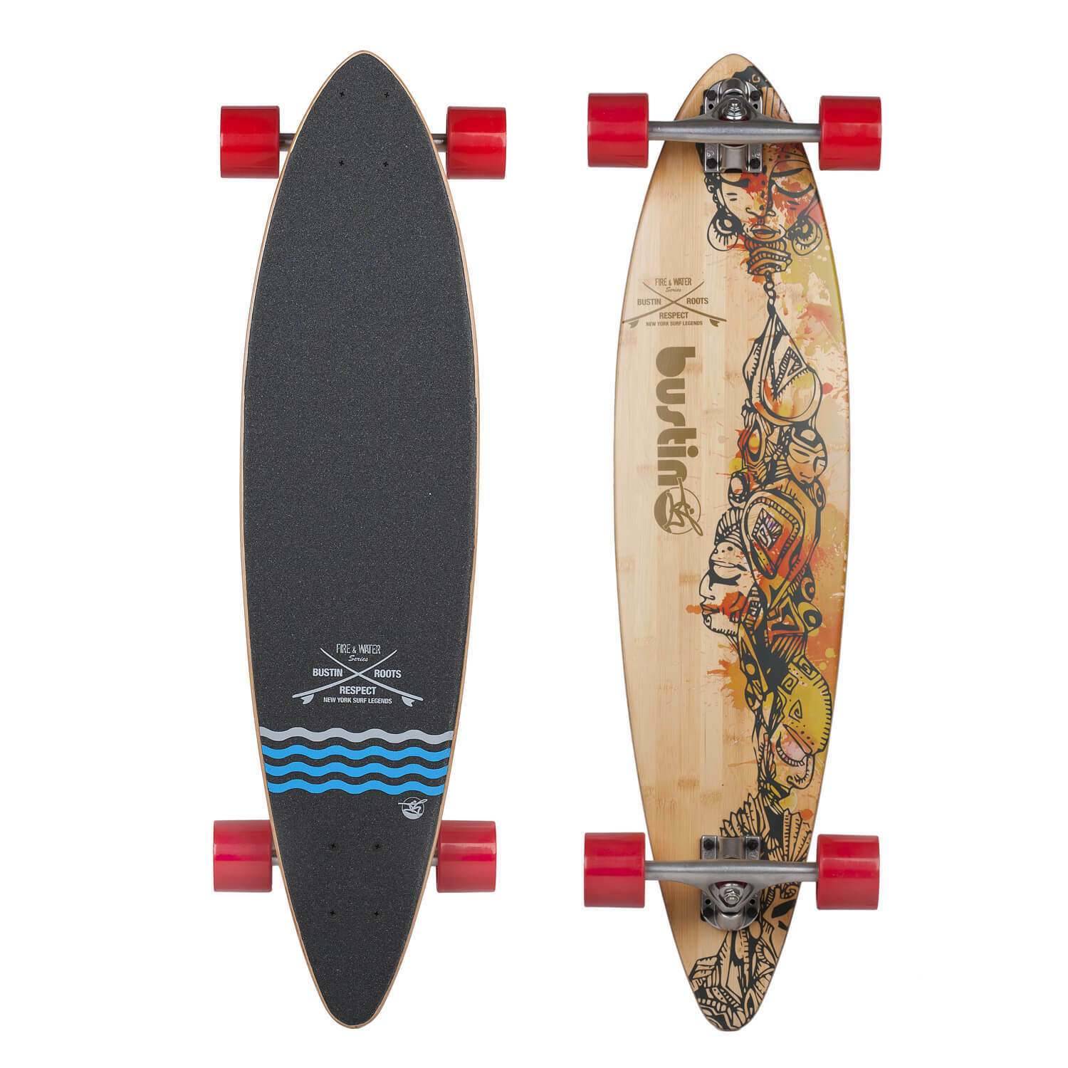 Bustin Pintail Longboard Ny Surf Tribute 36 x 8.65 Beginners Board Paris Axles