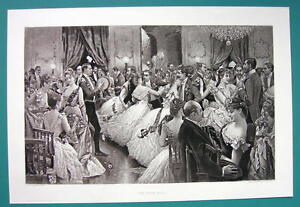 HUNT-BALL-High-Society-Ladies-Fine-Dresses-115-Years-Old-Antique-Print