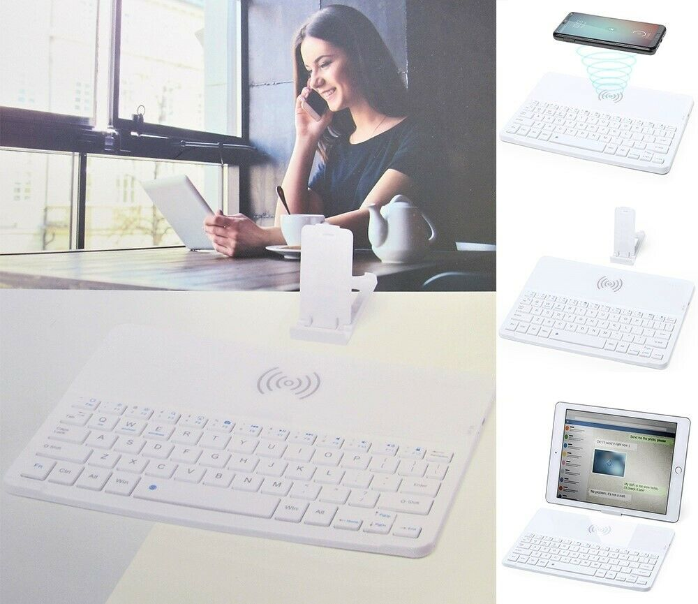 Wireless Bluetooth Keyboard Qi Phone Charger Tablet Holder Android Apple Ios Uk For Sale Online