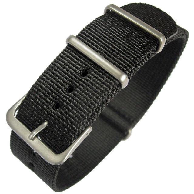 22mm Hadley-Roma MS4210 Mens Black Nylon Military MoD G10 Watch Band Strap