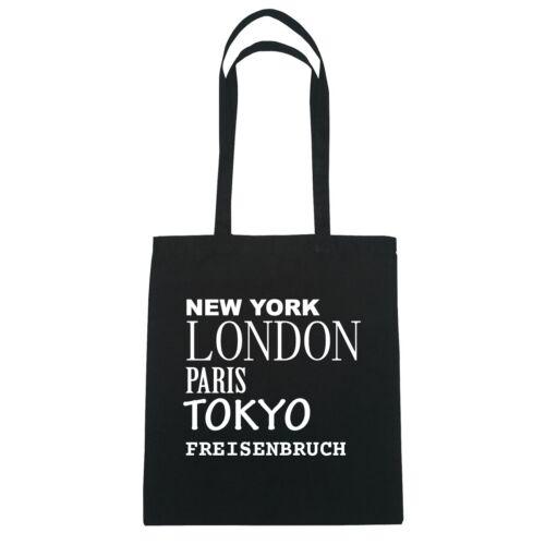 Jutebeutel Tasche Farbe: schwar London Paris Tokyo FREISENBRUCH New York