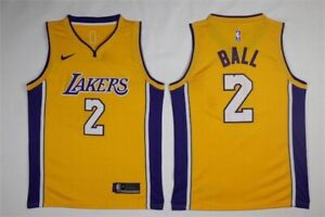 on sale a3001 9adef Details about Men's LAL Lakers #2 Lonzo Ball Swingman Basketball Yellow  Jersey Stitched
