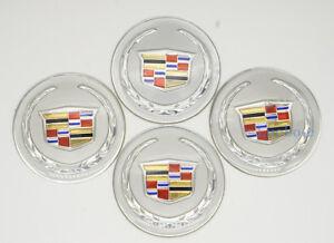 4Pcs 65mm Car Wheel Center Hub Caps Curved Logo Badge Emblems For Cadillac