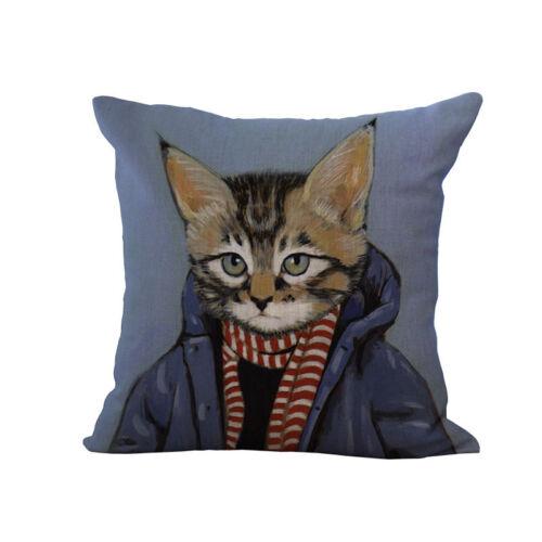Fashion Cartoon Cat Logo Cotton Linen Pillow Case Cushion Cover Home Decoration