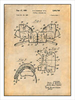 1957 Football Shoulder Pads Patent Print Art Drawing Poster 18x24