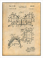 1957 Football Shoulder Pads Patent Print Art Drawing Poster 18x24