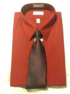 NIB-VanHeusen-Dress-Shirt-amp-Tie-Collection-17-34-35-XLarge-Brick-Red-Black
