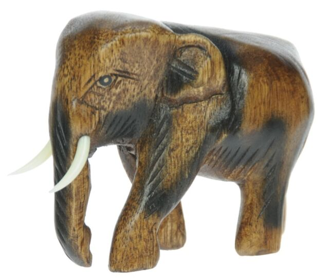 Cute Wooden Baby Elephant Carving