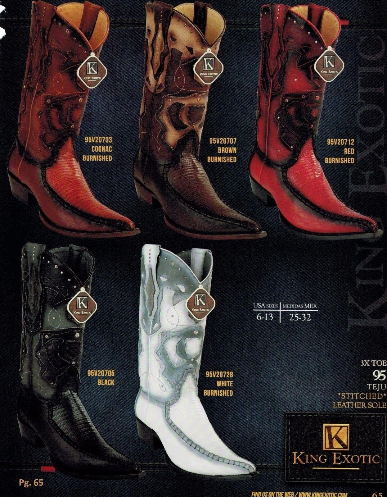 King Exotic Para hombre XXX-toe XXX-toe XXX-toe botas de vaquero occidental Genuino Teju lagarto 6ff143