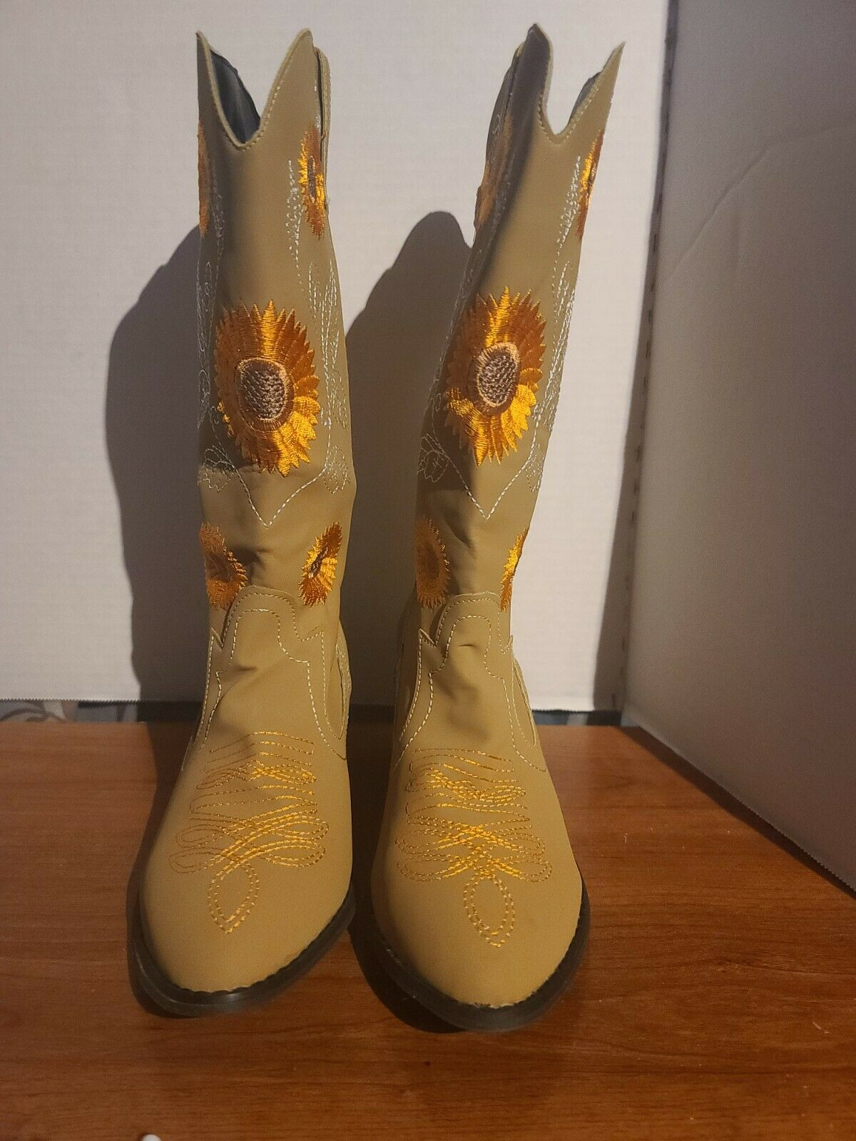 Womens Mid Calf Western Boots Embroidery Sunflower Low Block Heel Boot Shoes US