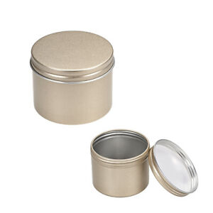 1 oz Round Aluminum Cans Tin Screw Top Metal Lid Containers Black 30ml 2pcs