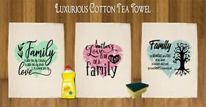 Details about FAMILY QUOTES HEART TEA TOWEL 100% COTTON CUTE GIFT KITCHEN  MUM NAN SISTER AUNT