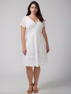 Lane-Bryant-Lace-Fit-amp-Flare-Dress-14-16-18-20-22-24-26-28-White-1x-2x-3x-4x