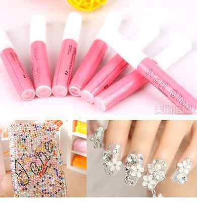 FD722 Beauty Professional Acrylic Glue Decorate Tips Pink Nail False Art ~3pcs/