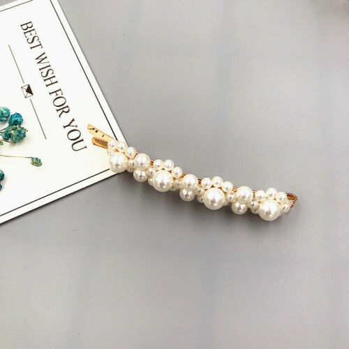 Elegant Women Pearl Hair Clip Snap Barrette Stick Hairpin Hair Accessories Gift