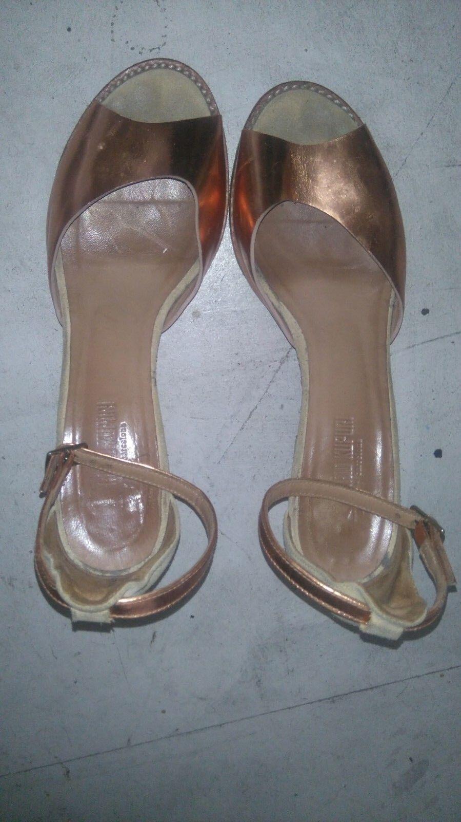 Da Donna ANAID kupri con Tacco Alto Sandali in vernice bronzo Cinturino Alla Caviglia Misura 38 Punta Aperta