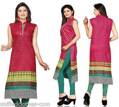36 Indian Pakistani Style Long Printed Cotton Kurti Tunic Kurta 374 Med