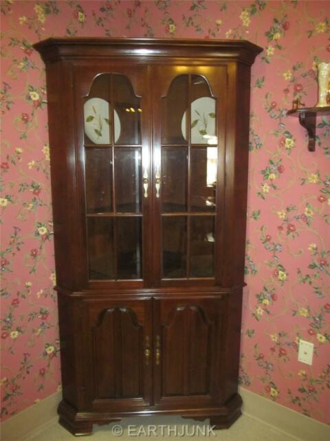 Kling Corner China Cabinet Georgian Court Style Queen Anne Solid Cherry Wood For Online Ebay