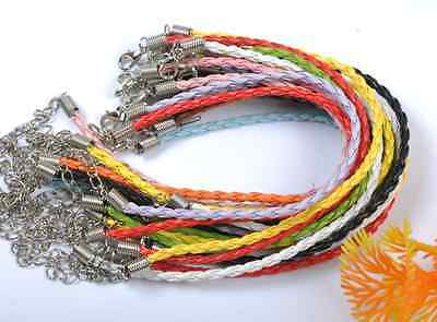 20pcs 50pcs 100pcs Leather Braided Charms Bracelets Cords Many Colors To Choose
