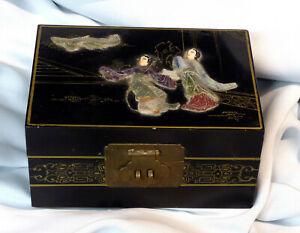 E Ancien Coffret Japon Bijoux Incrustations Pierres Jade Tissus Capitonné 18cm Pour Aider à DigéRer Les Aliments Gras