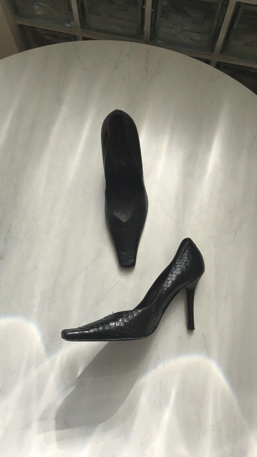 confortevole nero Crocodile Pattern Heeled scarpe donna's donna's donna's Dimensione 7  risparmia il 50% -75% di sconto