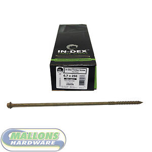 Details about TIMco IN-DEX Timber Screws 6 7 x 250 Box of 50 Timber Wood  Fixing