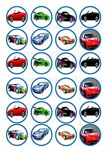 Image Is Loading 24 Sports Cars Cupcake Topper Wafer Rice Edible