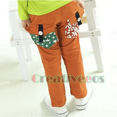 Fashion Kids Boys Girls Letters Stars Trousers Toddlers Pants Costume 2-7 Years