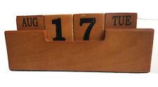 Vintage Wood Block Perpetual Desk Calendar Office