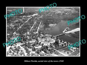 OLD-LARGE-HISTORIC-PHOTO-OF-MILTON-FLORIDA-AERIAL-VIEW-OF-THE-TOWN-c1940-1