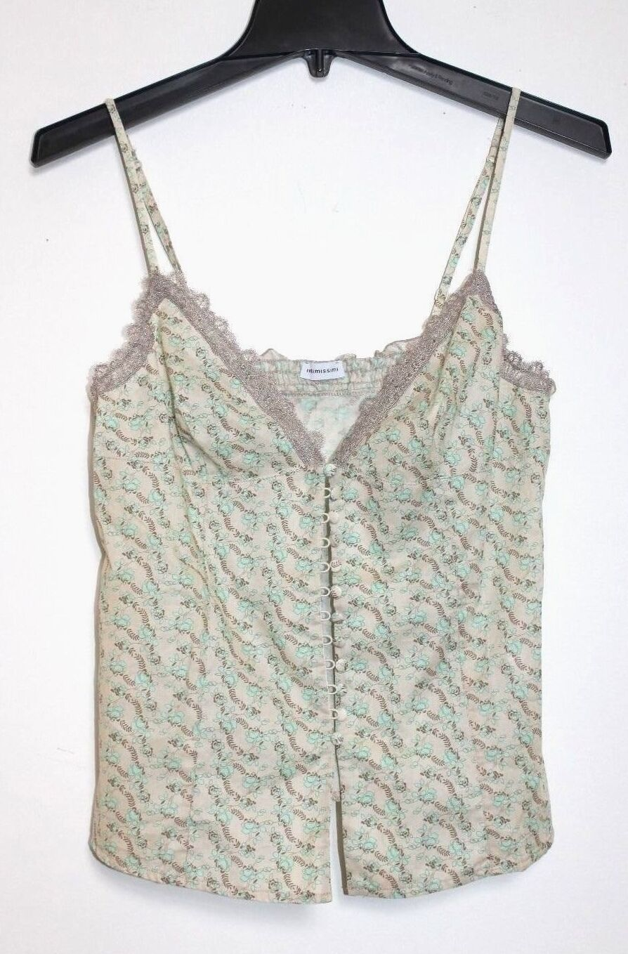 Intimossimi - M - NWOT - Beige & bluee Floral Print Spaghetti Strap Camisole Top