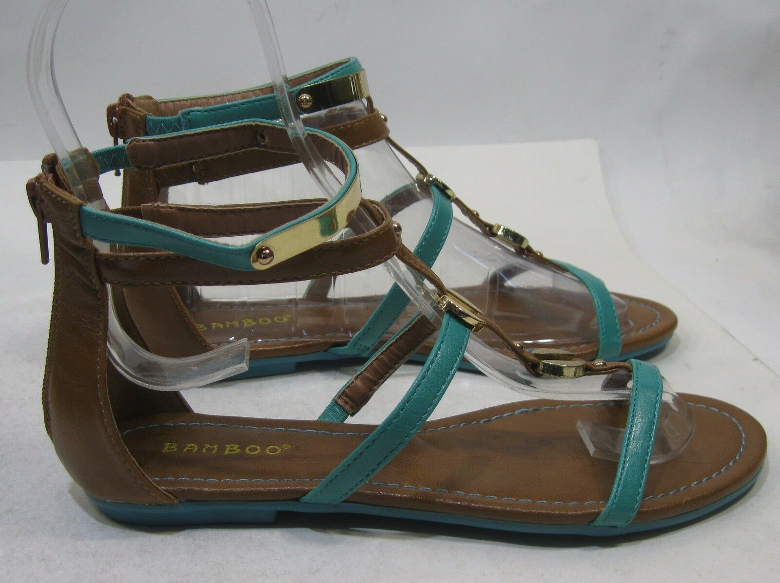 Summer Turquoise/Brown Sexy Womens Ankle Strap Shoes Sexy Turquoise/Brown Sandals Size 7.5 3fda9b