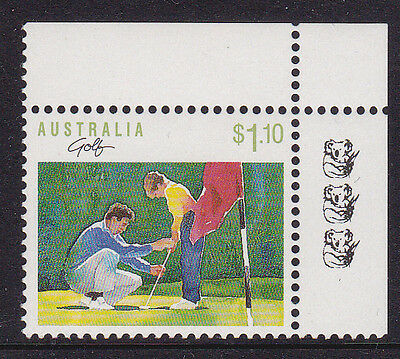 1989 Sport Series $1.10 Golf - 3 Koala Reprint (Top Right Corner)
