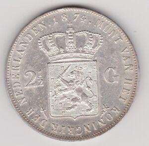 Nederland-2-gulden-1874-zwaard-klaverblad-Willem-III