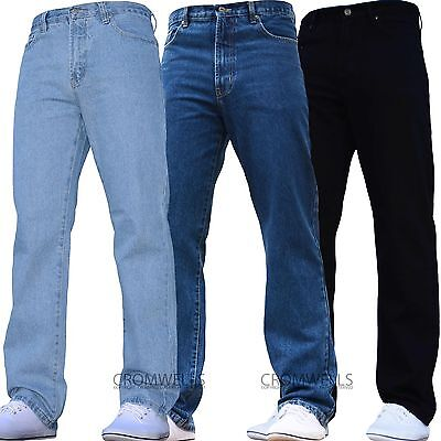 Aztec Excellent Quality Regular Fit Plain Comfy Jeans Tough Hard Wearing Pants Black Stonewash Lightwash Bleachwash Blue Denim Jeans