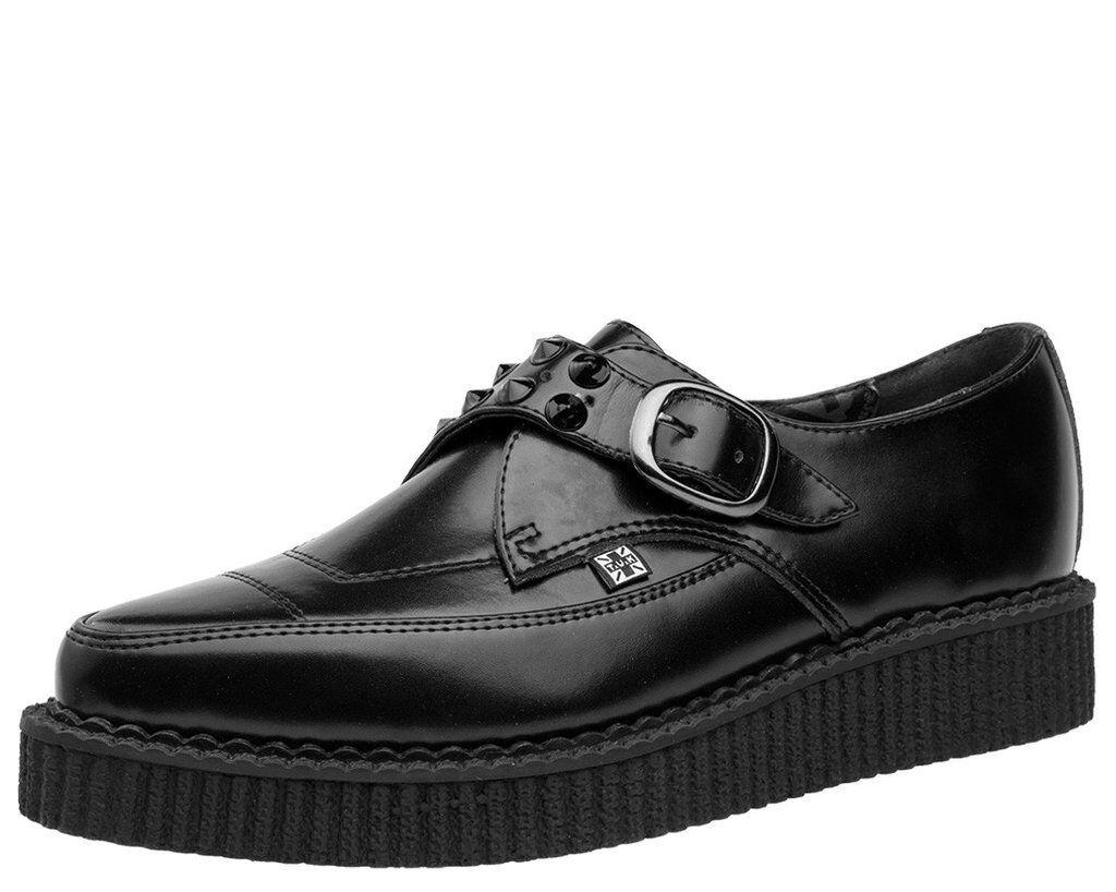 T.U.K. A9159 TUK Shoes Pelle Nera Fibbia punta MONACO a punta a punta Fibbia Creepers d291d5