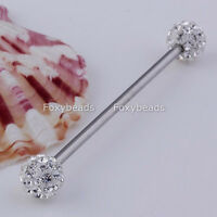 1X Clear Czech Crystal Stainless Steel Long Industrial Stud Barbell Ear Ring 14G