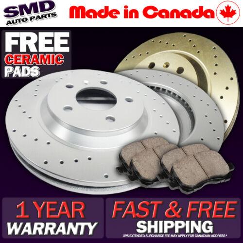 FRONT SET Z0133 Performance Cross Drilled Brake Rotors /& Ceramic Pads