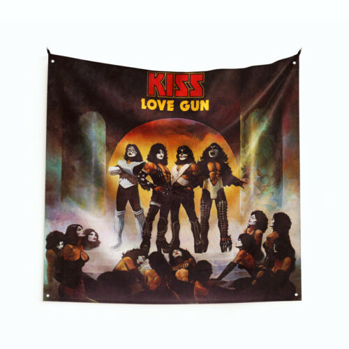 "Kiss /""Love Gun/"" Art Music Album Poster Wall Hanging Tapestry Flag 3x3ft// 4x4ft"
