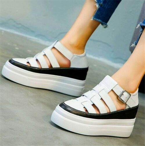 34-42 Sandals Women Cow Leather Fashion Sneakers Platform Wedge Oxfords Casual