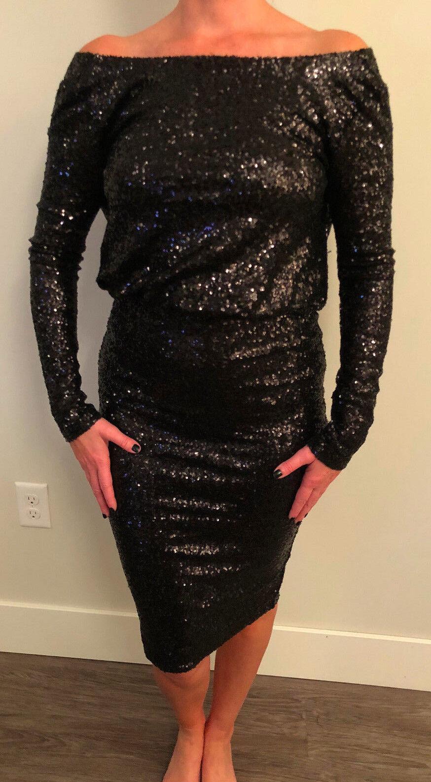 ASOS Woherren Sequin Off Shoulder Long Sleeve Fitted Dress NEW Größe US 4