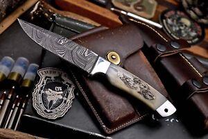 CFK Handmade Damascus Custom WOLF WOLVES Scrimshaw Bone Hunting Skinner Knife