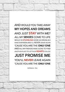 Details about Ed Sheeran - One - Song Lyric Art Poster - A4 Size
