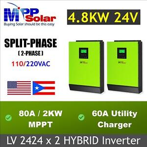 Split phase 4800w  24V 110/220vac 80A MPPT solar charger + battery charger 60a