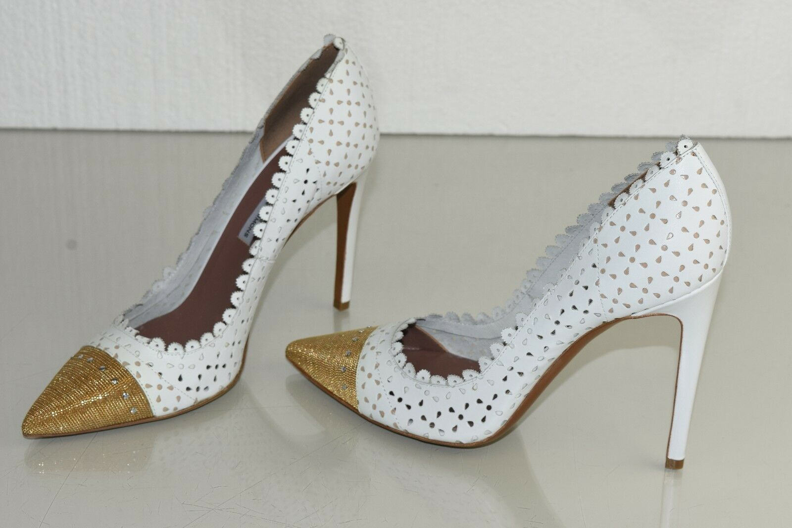 995 NEW Tabitha Simmons DALIA Chain Scalloped Leather Perforated Pumps White 40
